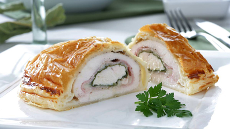 food;breasts;chicken;poultry;white meat;puff pastries;spinachs;ham;vegetables;cheeses;pork